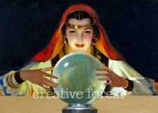 FORTUNE TELLER, Vintage Mysterious Gypsy Reproduction CANVAS PRINT 32x24 in.