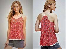 NWT Anthropologie Meadow Rue Red Paisley Peplum Swing Cami Tank Top Tee XL $58