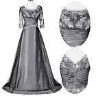 Vintage Lang Satin Formal Brautkleid Hochzeitskleid Abendkleider Ballkleider Neu