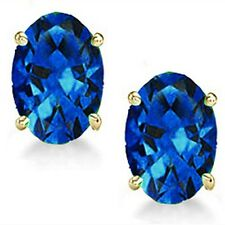 @@ Wholesale Genuine Sapphire Oval Earrings in 14k Gold With Certificate