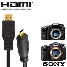 Sony RX100M2 HDMI Micro to HDMI TV Monitor 2m Gold Cord Wire Lead Cable