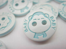10 Baby Boy Buttons 13mm (1/2 inch) Baby Blue Monkey Buttons Baby Boy Clothing
