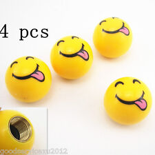 4x Yellow happy Face Ball Tire /Car Wheel Stem Valve Air Dust Caps fit For Acura