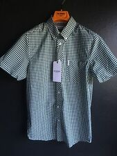 Ben Sherman Gingham Short Sleeve Shirt, Forest Night, Size S