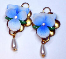 Vintage Pansy Charms Flower Rhinestone Dangle Drops Pendant