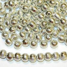 MBXL7274L2 Bright Shiny Silver 6mm Corrugated Round Metal Alloy Beads 100/pkg