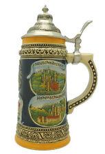 Engraved Beer Stein German Landmarks Metal Lid