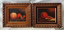 """Old Pair of Still Life Paintings w. Gold Finish Vintage Decor Frames 13x15"""" SGND"""