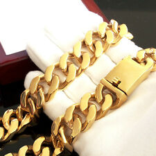 24K Gold MACHING SET 316L HEAVY Stainless Steel Bracelet Necklace Men Wide no x