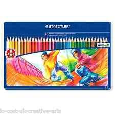 STAEDTLER 36 NORIS CLUB ARTIST COLOUR PENCIL METAL TIN SET - ANTI BREAK LEAD