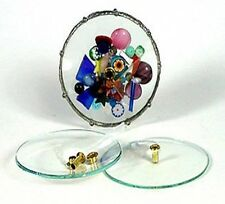 STAINED GLASS SUPPLIES KALEIDOSCOPE IMAGE DISK HOLDS GEMS CURVED CONVEX