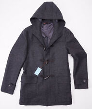 NWT $1995 BATTISTI NAPOLI Charcoal Gray Wool Toggle-Front Duffle Coat 52/L Italy