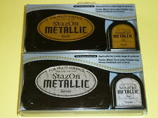 StazOn Metallic Inker & Solvent Pad Gold SZ-000-191 AND Silver SZ-000-192