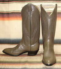 Vintage Panhandle Slim Gray Leather Cowboy Boots Mens 8 D Womens 9.5 M New