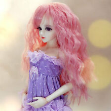 "1/4 1/3 bjd 7-8"" doll head pink color curly long wig Luts Soom Iplehouse"