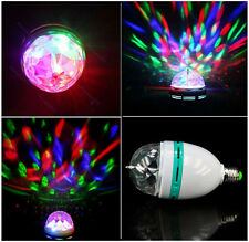 3W E27 RGB Crystal Magic Ball Rotating LED Stage Light Bulb Xmas Party DJ Lamp