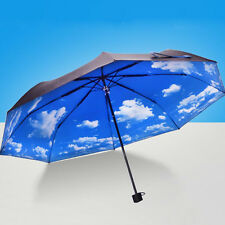 Women Parasols Anti-uv Sun Protection Windproof Sky mini Rain Umbrella 3 Folding