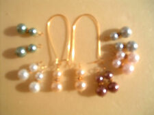 6 pairs Glass Pearl earring charms & 38mm Gold P Interchangeable Kidney ear wire
