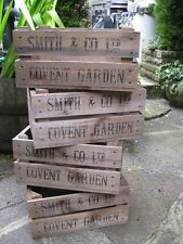 VINTAGE STYLE HANDMADE CRATE BOX BLACK LETTERING *SMITH & CO LTD-COVENT GARDEN*