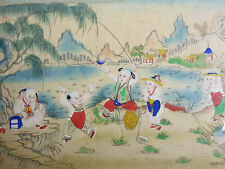 CHINE Ancienne peinture CANTON China CHINESE Asia Asiatique Cina CHILDREN