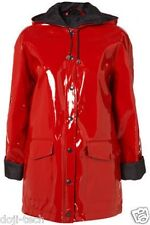 Topshop Red Shiny Plastic PVC Rain Mac 60s Mod Vtg Hooded Jacket Coat 10 US6 38
