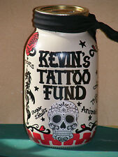 """""""MY TATTOO MONEY"""" JAR - BANK/ HANDPAINTED/PERSONALIZED w/slotted lid"""