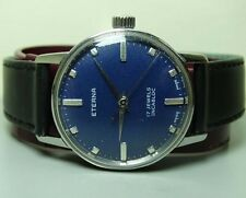VINTAGE ETERNA WINDING SWISS MADE WRIST WATCH 4949826 OLD USED G62 BLUE DIAL