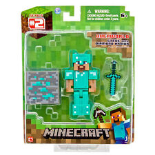 "MINECRAFT OVERWORLD STEVE DIAMOND ARMOR 3"" FIGURE - ARTICULATED BRAND NEW IN BOX"