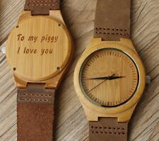 Custom Personalized Minimalist Engraved Mens Wood Wooden Bamboo Watches for Men
