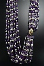 14K Yellow Gold Clasp 8-Strand Amethyst Bead Baroque Pearl Gump's Gumps Necklace