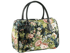 Signare Ladies Tapestry Travel Holdall Weekend Handbag Bag In Peony Black Design