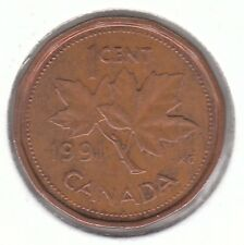 Canada 1991 elizabeth ii - 1 cent bronze coin-maple leaf
