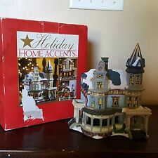 Holiday Home Accents Collectible Blue Victorian House Lighted Christmas Decor