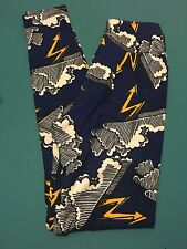 Lularoe Leggings TWEEN Storm Clouds Rain Lightning NEW Bolts Gray Black *UNICORN