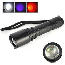 2000lm Fishing White Red UV LED Zoomable Flashlight 18650 Hunting Torch Lamp