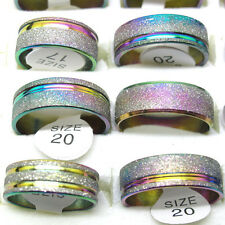 Free Shipping 10Pcs Stainless Steel Rainbow Color Lines Scrub Mix Size Rings T01