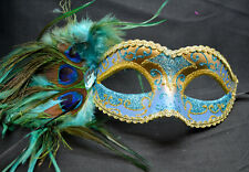 Teal/Gold Women Party Mask Masquerade Mask with Gems & Peacock Feathers