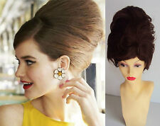 DELUXE BROWN SHORT BEEHIVE 60'S MOD BOUFFANT FASHION COSTUME WIG