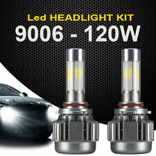 2x 9006 120W LED Headlight 12000LM Car White Beam 6000K Fog Bulbs Kit 4 Sides
