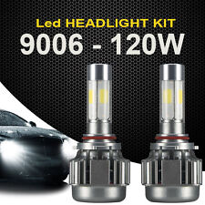2x 120W 12000LM LED Headlight Car 9006 White Beam 6000K Fog Bulbs Kit 4 Sides