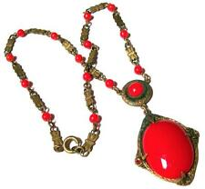 Vintage ART DECO CZECH RED GLASS NECKLACE-ESTATE