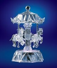 Carousel Light-Up Horses Acrylic  Etched Detail Rotates and Plays Blue Danube