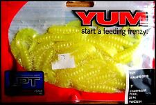 "YUM WALLEYE GRUB 3"" (7,5 cm) CHARTREUSE PEARL color - packet of 25 pcs!!"