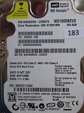 160GB Western Digital WD1600BEVS-22RST0 | DCM: HACVJANB | 18 OCT 2008 | #183