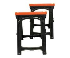 Folding Plastic Sawhorse 2 Piece Workbench Workhorse Table Bench Woodwork Tool