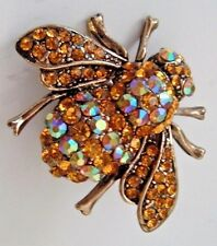 TOPAZ & AB GLASS SHINY RHINESTONES GOLDEN BROOCH BUMBLEBEE HONEY BEE INSECT PIN