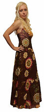 LONG BROWN RED OP ART COTTON MAXI PRINT DRESS S M 8 10 12 14 boho hippy summer