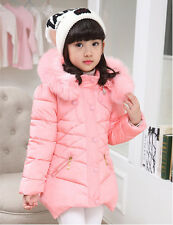 2016 Kids Girls Padded Coat Hooded Fur Collar Winter Warm Jacket Parkas 9-10Y