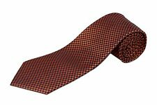 Extra Long Orange and Navy Houndstooth Silk Tie
