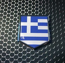 "Greece Greek Flag Domed CHROME Emblem Proud Flag Car 3D Sticker 2""x 2.25"""